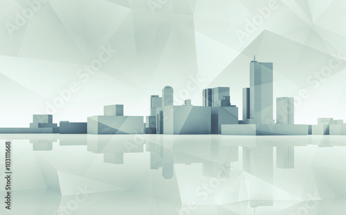 Abstract cityscape skyline. Blue toned 3d art - 103111668