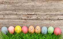 Funny Easter Eggs In Green Gra...