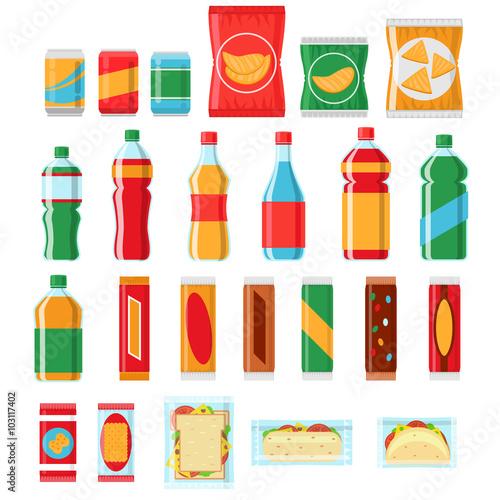 Fotografia, Obraz  Fast food snacks and drinks flat vector icons