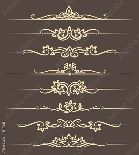 Foto Calligraphic design elements, page dividers with thai ornament