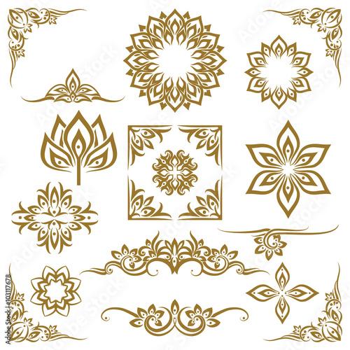 Thai ethnic decorative elements vector Fototapete