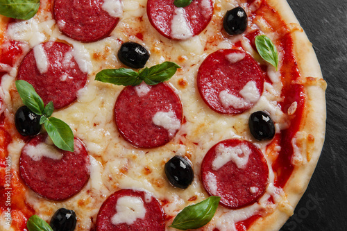 pizza with salami tomato and cheese - 103118285
