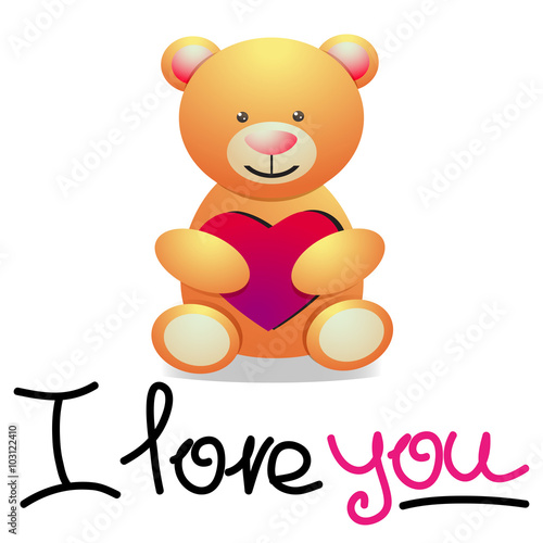 Bear with Heart and hand drawn lettering I Love You. Vector Ill #103122410