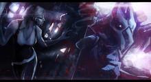 Futuristic Sci-fi Scene Illustration Of A Woman Escaping Huge Robotic Alien Monster.