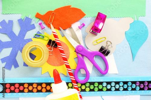 Fotografie, Obraz  craft supply tool for kids school paper craft