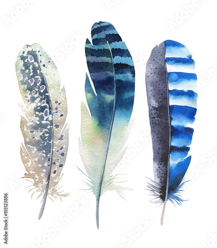 Photo  Hand drawn watercolor feather set. Boho style. illustration isol