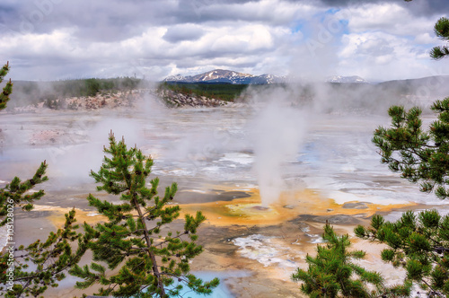 Fotobehang Natuur Park Beautiful Vibrant Geysers in Norris Basin, Yellowstone
