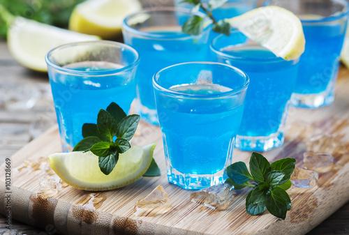Blue curacao liqueur with lemon on the wooden table Canvas Print