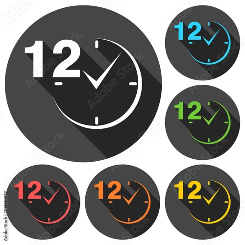 Fényképezés  12 hours circular icons set with long shadow