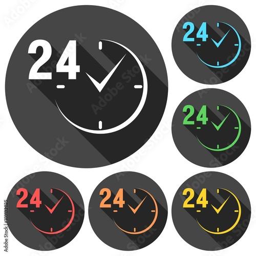 Fényképezés  24 hours circular icons set with long shadow