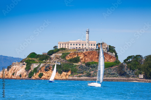 Alcatraz prison and yachts in San Francisco bay Wallpaper Mural