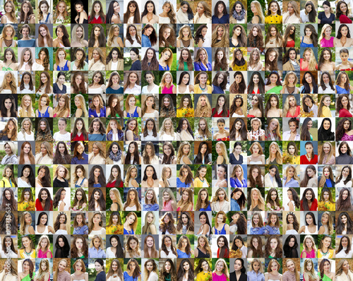 Fotografie, Obraz  Collage of beautiful young women between eighteen and thirty yea