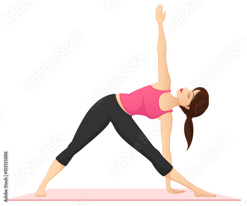 Vector illustration of a woman practicing yoga, performing the triangle pose.