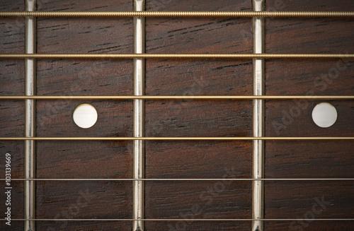 Spoed Foto op Canvas Muziekwinkel close-up macro of guitar strings and fret board