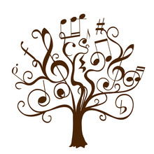 Hand Drawn Tree With Curly Twi...