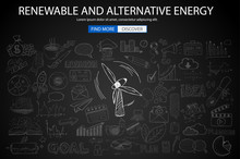 Renewable And Alternative Energy Concept With Doodle Design Style