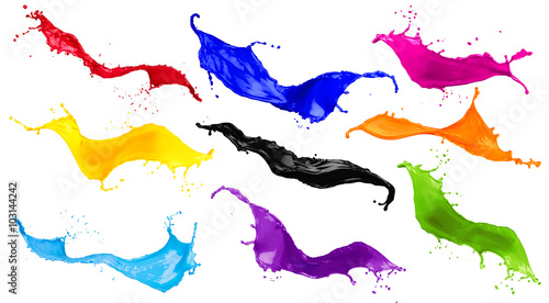 Foto Collection of colorful color splashes isolated on white background