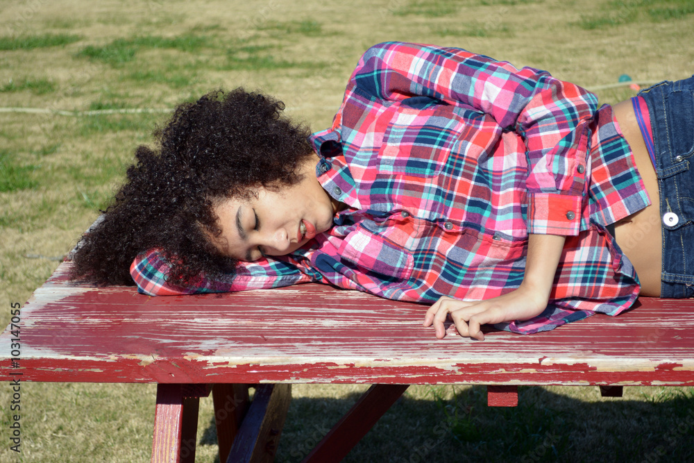 Photo Art Print Picnic Table SleepTeen Girl With Curly Hair - Picnic table print