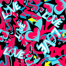 Graffiti Colored Hearts Seamless Background Vector Illustration Of Grunge Texture