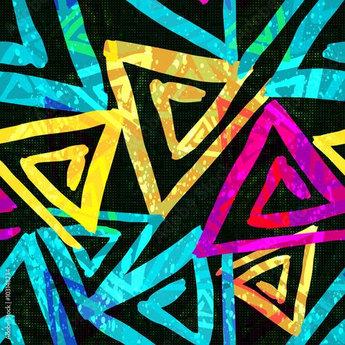 Foto auf AluDibond Graffiti Graffiti bright psychedelic seamless pattern on a black background vector illustration