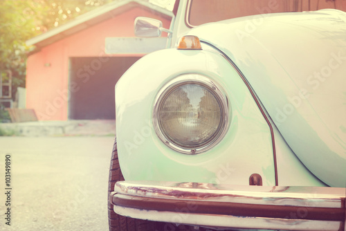 fototapeta na drzwi i meble Headlight lamp old antique car - vehicles vintage classic style. vintage pastel style