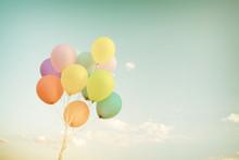 Multicolor Balloons In Summer ...