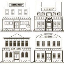 Old West Buildings Outlined - 2