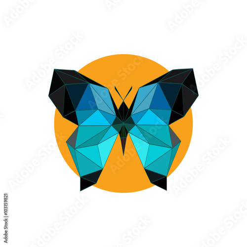 Fotografie, Obraz  Modern flat design with origami blue butterfly icon