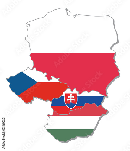 obraz lub plakat map with flags of visegrad group, V4