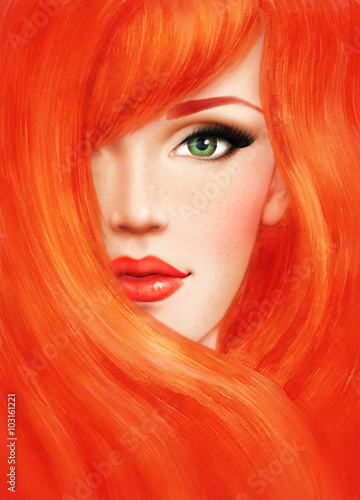 Beautiful woman face. fashion  illustration - 103161221