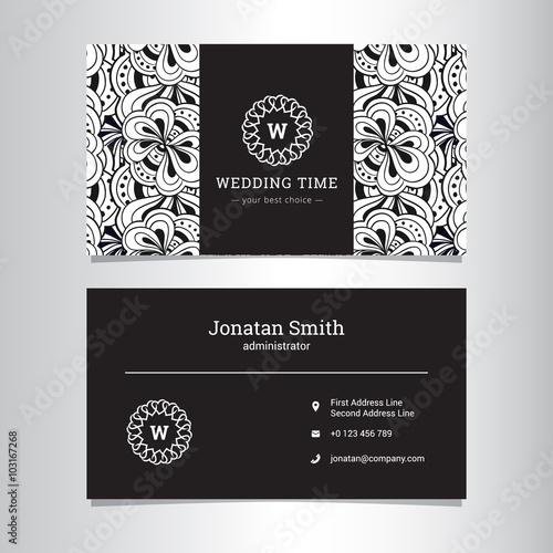 Vector elegant wedding agency business card template with flowers abstract pattern