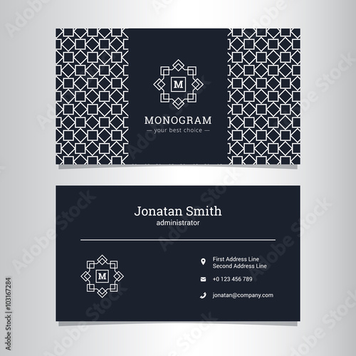 Fotografie, Obraz  Vector elegant business card template with monogram logo and geometric pattern