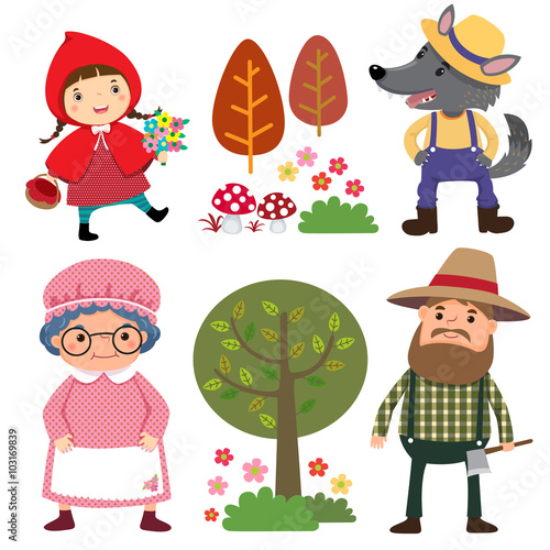 plakat Set of characters from Little Red Riding Hood fairy tale