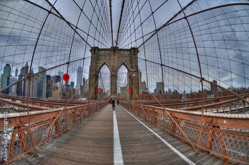 Brooklyn bridge and downtown manhattan new york city in the brooklyn bridge and downtown manhattan new york city in the background from a fish eye altavistaventures Images