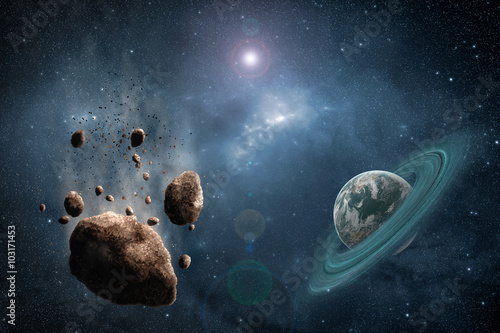 Spoed Foto op Canvas Heelal Cosmos scene with asteroid, planet and nebula in space