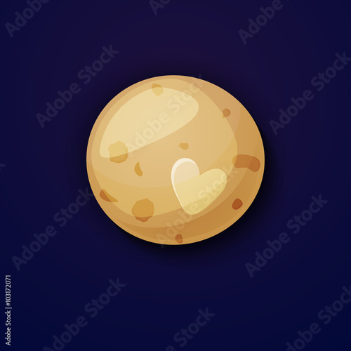 Photo  Pluto planet, space objects in cartoon style