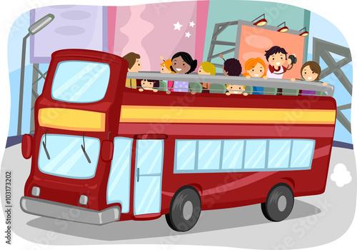 Fotografie, Tablou  Stickman Double Decker Bus Tourists Taking Pictures