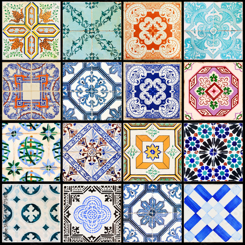 Printed kitchen splashbacks Moroccan Tiles Beautiful collage of all kind of different tiles of the houses of Lisbon, Portugal