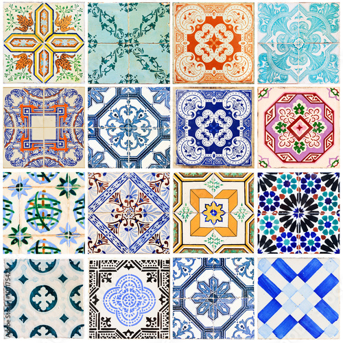 Deurstickers Marokkaanse Tegels Beautiful collage of all kind of different tiles of the houses of Lisbon, Portugal