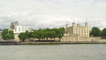Slow Motion View Across The River Thames Towards The Tower Of London, London, England