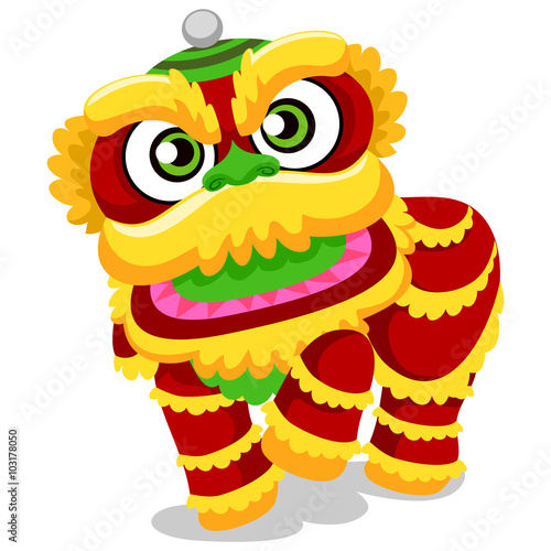 Fotografie, Tablou  Illustration of Lion Dance for Chinese New Year