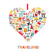 Heart from travel icons