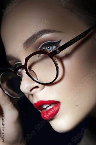 beautiful girl with red lips Canvas-taulu