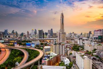 Panel Szklany PodświetlaneBangkok, Thailand downtown cityscape.