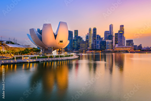 Spoed Foto op Canvas Singapore Singapore Skyline at Dusk