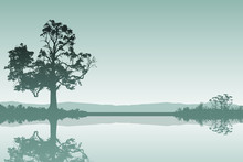 A Countryside Landscape With Tree And Reflection In Water