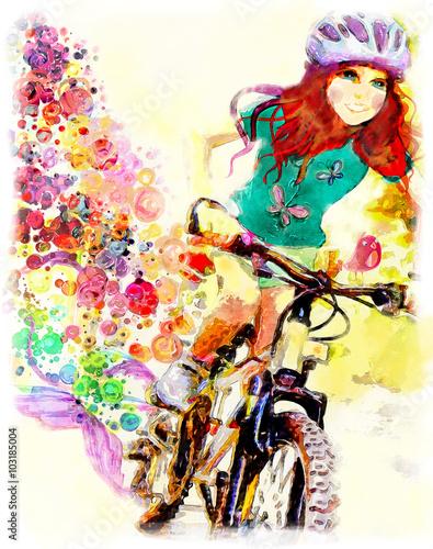 Fotografie, Obraz  Mladá dívka jede na kole. akvarel ilustrační
