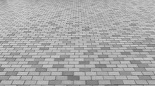 Perspective View Of Monotone Gray Brick Stone Street Road. Sidewalk, Pavement Texture Background