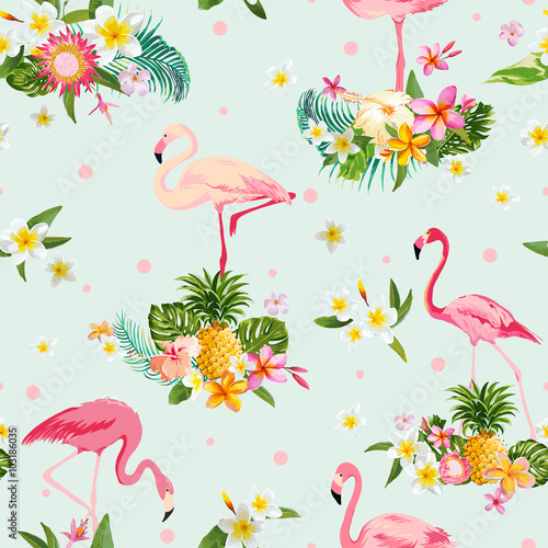 Leinwand Poster  Flamingo Bird and Tropical Flowers Background - Retro seamless pattern
