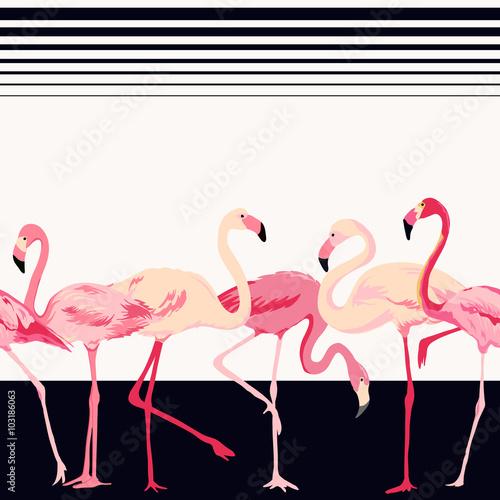 flamingo-ptasi-tlo-w-wektorze-retro-bezszwowy-wzor-